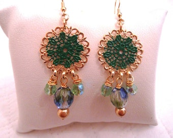 Filigree Enamel and Swarovski crystal earrings