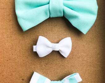 Minty Bow Set
