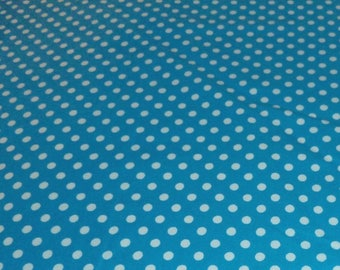 Flannel Polka Dot Turquoise/White Fabric by the Yard