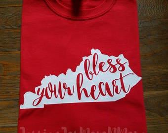 Kentucky-Kentucky Tee-Bless Your Heart Tee-Kentucky State-Youth or Adult T-shirt