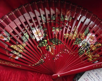 F-0003 - Wooden Hand Painted Hand Fan - Georgian Fan, Regency Fan, Victorian Fan, Hand Fan,