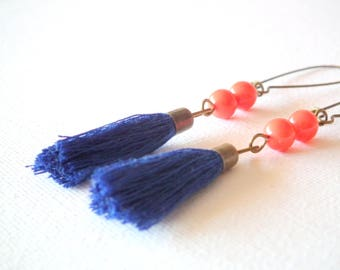 Earrings tassels blue and salmon beads