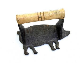 SALE Cast Iron Bacon Press with Wooden Handle