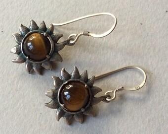 Sterling Silver Tiger Eye Sunflower Pierced Earrings