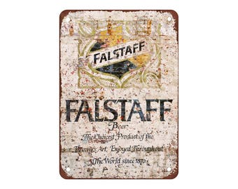 "Falstaff Beer - Vintage Look Reproduction 4 9"" X 12"" Metal Sign"