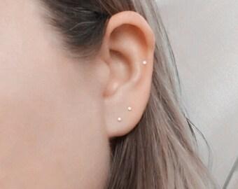 Solid 14k rose gold earrings Solid gold stud earrings 14 k solid rose gold earrings Tiny studs Tiny stud earrings 2mm