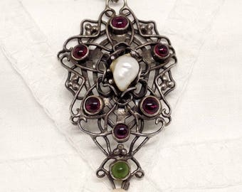 Circa 1900 Austro Hungarian Solid Silver Pink Garnets Baroque Pearl & Green Chrysoberyl  Pendant