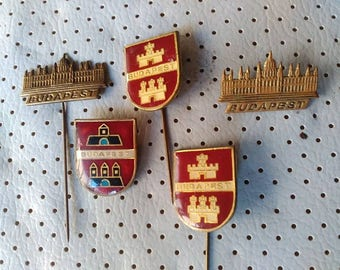 Budapest Hungary Vintage Pins City Crests Coat of Arms Souvenir Sale