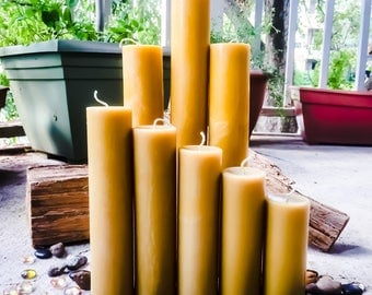 """Set of 5 Beeswax candles-100% Pure Beeswax Pillar candle-2"""" diameter beeswax candle-handmade pure organic beeswax-pillar beeswax candles"""