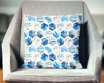 Blue Tropical Pillow | Blue Tropical Decor | Tropical Throw Pillow | Tropical Pillow Cover | Tropical Cushion | Tropical Home Decor
