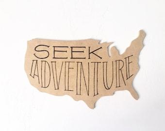 Seek Adventure U.S.A. Cut-out Sign