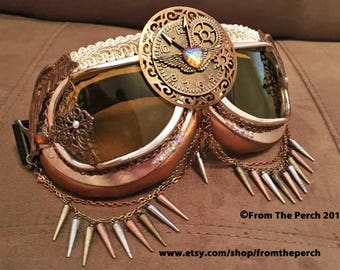 STEAMPUNK Aviator Goggles, Burning Man Goggles, Festival Goggles, Time Flies Goggles, Clock, Tri-Color Bronze Goggles, Rose Gold Goggles