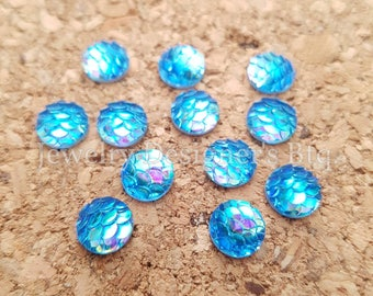 NEW - 10pcs, 8mm Iridescent Ocean Blue Mermaid Fish Scale Resin Cabochons - Blues Tone Cabochon - DIY Jewelry Supply - Mermaids Tail