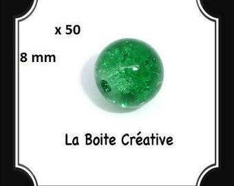 50 round 8 mm Green CRACKLE glass beads