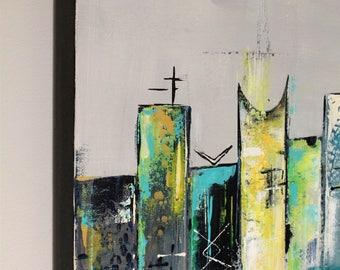 Mid-century modern art painting - Uptown XVII