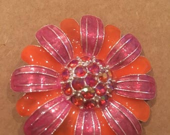 Additional 10 Dollar Coupon Inside Orange and pink enamel rhinestone brooch