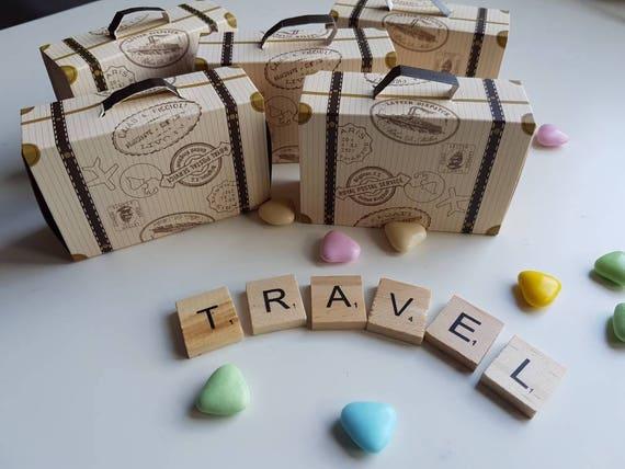 Vintage Style Mini Suitcase Favour Boxes Travel Theme