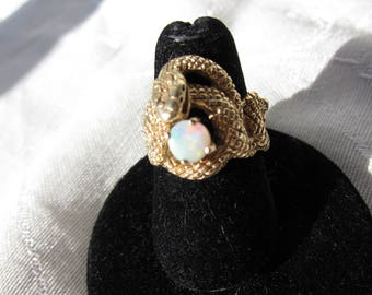 Antique Victorian 14 kt. Gold Snake with Opal       C.1900