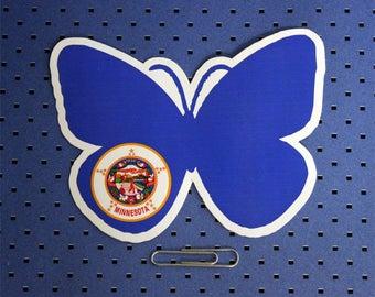 Minnesota Butterfly State Flag Bumper Sticker