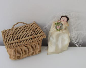 Vintage Doll Peg Doll and Miniature Wicker Dolls Hamper Hand-made doll Vintage Doll Wedding