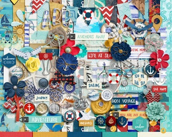 SUMMER SALE - Anchors Away - Digital Scrapbooking Full Kit