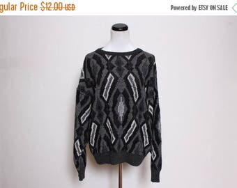 30% OFF VTG 80s Black White Tribal Athletic Abstract Grandma Sweater S/M