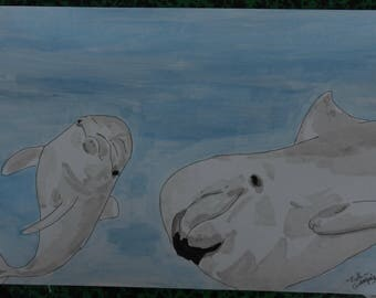 """Dolphins"" animal drawing, ink China and signed ink wash G.Vanspey"