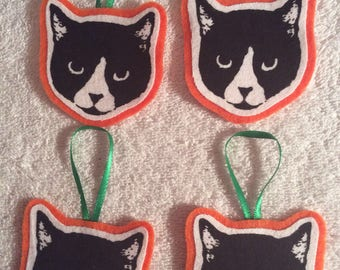 Black Cat Ornaments - Set of 4