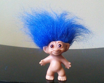 Vintage Wishnik Troll Doll Uneeda Double Horseshoe Blue Hair Trolls 3""