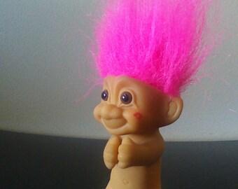 "Vintage Russ Troll Doll Pink Hair Clip On Clasp Trolls 3"""