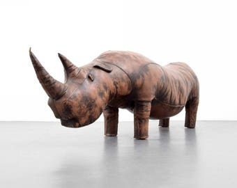 """Large Leather Rhinoceros Attributed to Abercrombie & Fitch, 79""""""""L"""