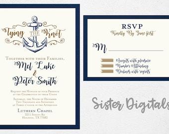 tying the knot wedding invitation anchor wedding invitation navy wedding invitation anchor invitations - Anchor Wedding Invitations