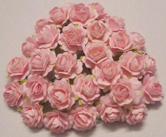 30 Paper Flowers Size 075 Mulberry Craft Flower Mini Roses Wedding Light Pink From SJsupplies42 On