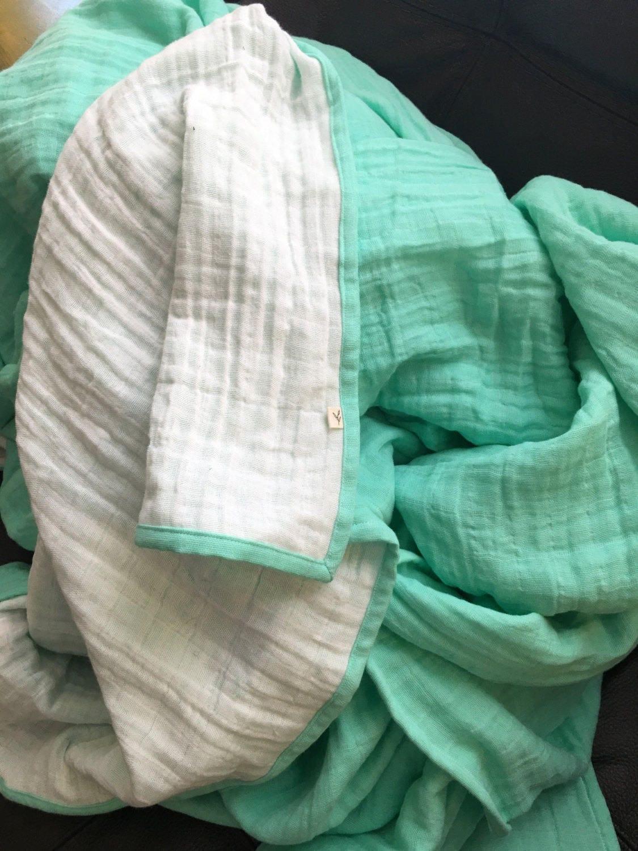 Reversible Twin Comforter 6 Layers 100 Cotton Muslin
