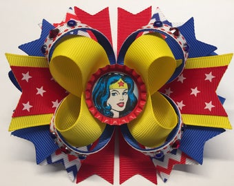 """WONDER WOMAN Boutique Stacked Hair Bow Red/Blue/Yellow W 5.0"""" x  L 4.5"""" x H 2.0"""""""