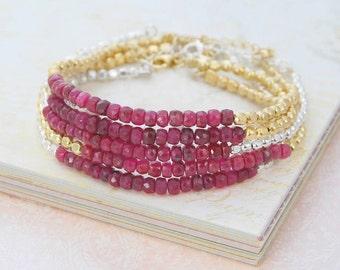 Ruby Bracelet, Bracelet, Friendship Bracelet, Silver Ruby Bracelet, Gold Friendship Bracelet, Silver Gemstone Bracelet, Rose Gold Bracelet