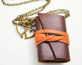 Mini Brown Leather Book Necklace ~ Two Heart Charm ~ Hand Bound ~ Journal ~ Upcycle