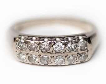 Diamond Wedding Band, White Gold Diamond Ring, Vintage Wedding Band, 1950's Wedding Ring, Stacking Mid-Century Ring, Diamond Wedding Band
