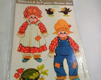 Meyercord Decals For Your Home/Male And Female Scarecrows #499-B/7 Decals Per Sheet/Pre Glued/Easy To Apply (W)