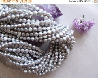 """ON SALE Light Gray Cultured Freshwater Pearl Round Button Nugget Coin Beads ~ Full 16"""" Strand ~ 6mm-6.5mm"""