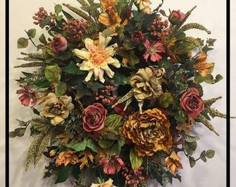 Autumn Door Wreath, Autumn Door Decor, Fall Wreaths For Front Door Wreaths For Fall, Autumn Wreaths For Front Door, Fall Door Decorations