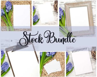 BUNDLE 6 styled stock photo, flat lay background for Hand-Lettering