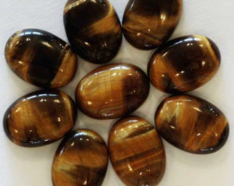 Pack of 9 tiger's eye quartz oval cabochons 18mm x 13mm