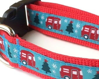 Christmas Dog Collar -Holiday Dog Collar - Dog Collar - Personalized Dog Collar - Camping Dog Collar