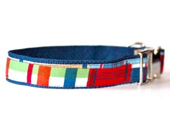 Coastal Plaid Dog Collar | Plaid Dog Collar | Plaid Leash | Plaid Harness | Step In Harness | Personalized Dog Collar | Engraved Buckle