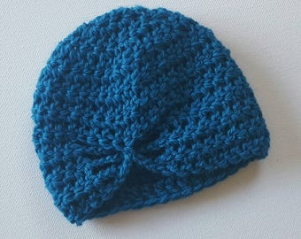 Newborn Butterfly Beanie - Teal Pure Wool
