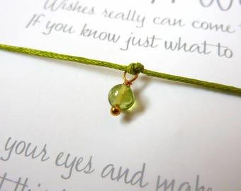 Wish Bracelet - Peridot / Gemstone Wish Bracelet / Peridot Bracelet / Birthstone Jewellery / Healing Gift / Chakra Gemstone / Wish Knots