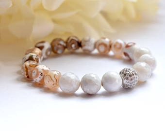 White and Tibetan Agate Stretch Bracelet with Pave Accent Bead, Healing Bracelet, Best Friend Bracelet, Stretch Elastic, Gemstone Bracelet