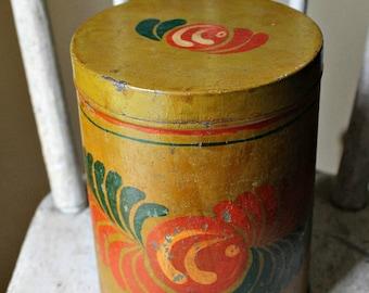 Vintage Tole Painted Tin-Mustard