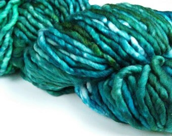 Under Tow, green, blue, Hand Dyed Yarn, Super Bulky, Superwash